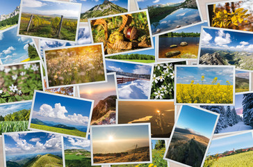 Collection of printed photos with nature and landscape themes