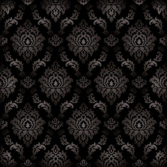 Vector - Seamless damask black color pattern