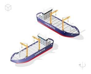 Set of Isolated High Quality Isometric City Elements . Container Ship with Shadows on White Background