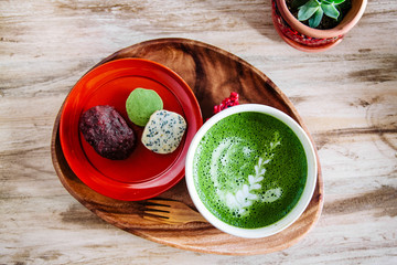 Matcha green tea and sweets