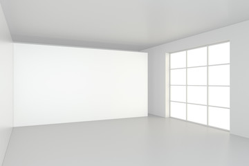 interior blank billboards standing on floor in white room. 3d rendering.