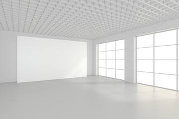 Empty white billboard in simple interior. 3d rendering.