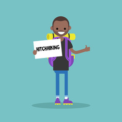 Young black backpack traveler holding a sign. Hitchhiking / flat editable vector illustration, clip art