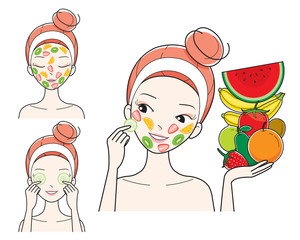 Young Woman With Fruits Facial Mask On Her Face, Treatment, Beauty, Cosmetic, Makeup, Healthy, Lifestyle