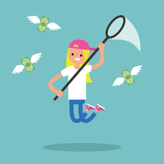 Young blond girl trying to catch money with a nettle. Business concept / flat editable vector illustration, clip art