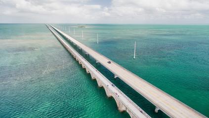 Beautiful aerial view of Overseas Highway Bridge, Florida