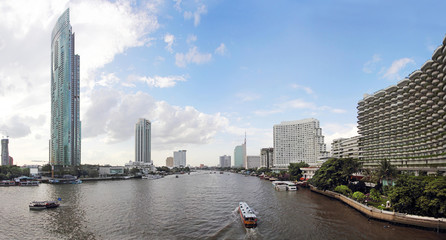 Chao phraya river and Cityscape panorama