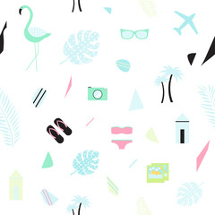 Summer seamless background in scadinavian style with flamingo, sunglasses, palm, camera, swimsuit. Vector background.