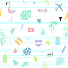 Summer background in scandi style. Seamless pattern.