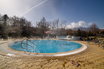 Pool with warm water in the open air