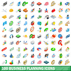 100 business planning icons set, isometric style