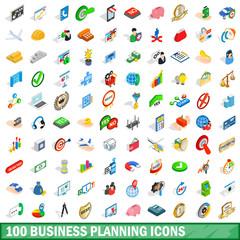 100 business planning icons set, isometric style