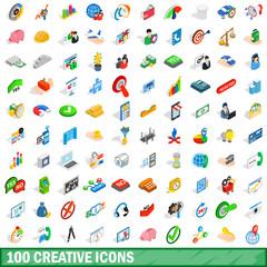 100 creative icons set, isometric 3d style
