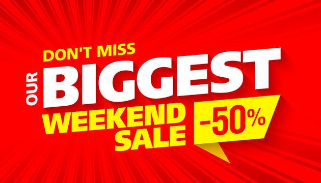 Biggest Weekend Sale bright advertising banner design