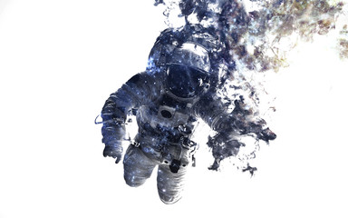 Wall Mural - Modern space art. Astronaut at spacewalk. Dust of universe, smoke, isolated on clear white background. Elements furnished by NASA