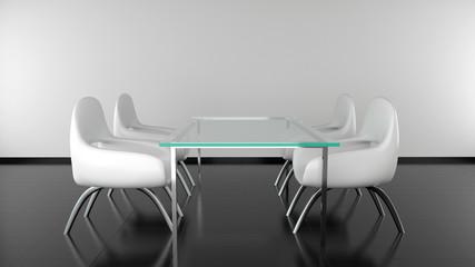 Moderner Esstisch mit Stühlen