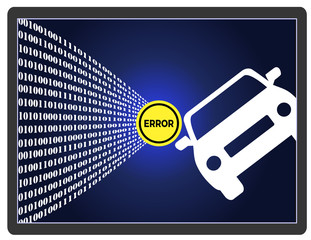 Self-Driving Car Error.Traffic accident of autonomous vehicle through software failures