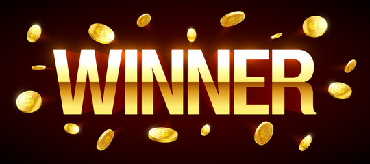 Winner casino banner with winner inscription and gold explosion of coins around