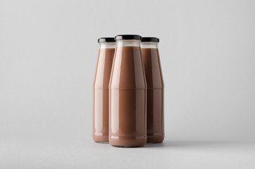 Chocolate Milk Bottle Mock-Up - Three Bottles