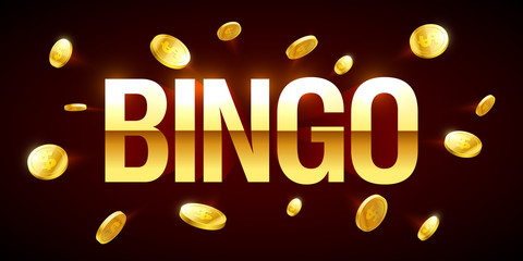 Bingo game banner with bingo inscription and gold explosion of coins around
