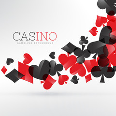 casino playing cards symbols floating in gray background