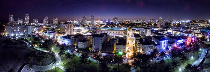 Miami Beach Ocean Drive, aerial panoramic night view