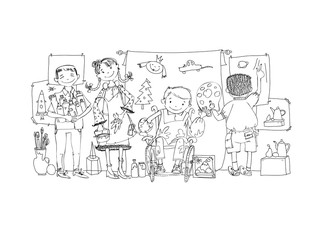 Group of children, include the boy in the wheel chair during the art lesson, drawing and enjoying activities. Illustration