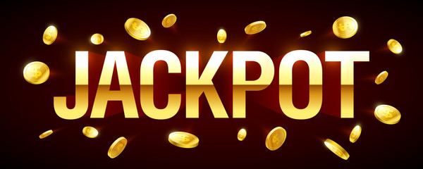 Jackpot gambling games banner with jackpot inscription and gold explosion of coins around