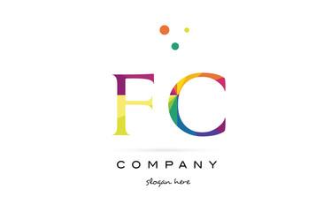 fc f c  creative rainbow colors alphabet letter logo icon