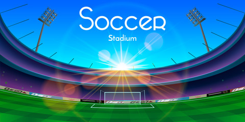 Arena in night with soccer stadium text. Football