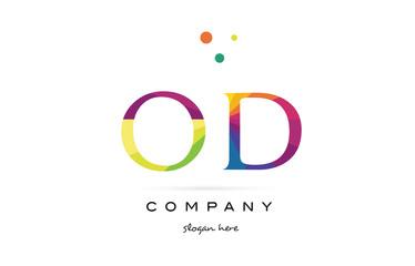 od o d  creative rainbow colors alphabet letter logo icon