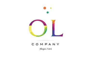 ol o l  creative rainbow colors alphabet letter logo icon