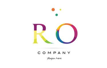 ro r o  creative rainbow colors alphabet letter logo icon