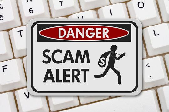 Scam alert danger sign