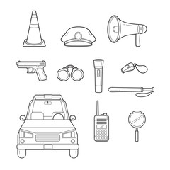 Police Outline Icons Set, Profession, Occupations, Patrol, Worker, Security, Duty