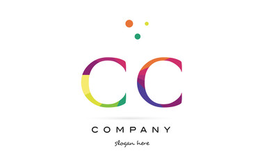 cc c c  creative rainbow colors alphabet letter logo icon