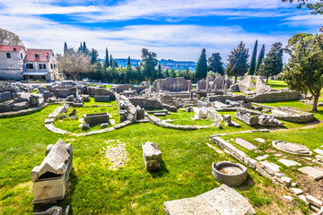 Salona old ruins cemetery. / Scenic view at Salona old ruins cemetery called Manastirine in suburb of town Split, Croatia. Wall mural