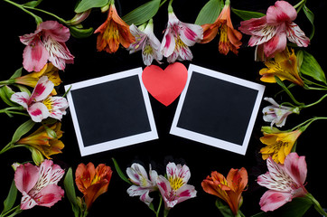 Frame of flowers and cards.