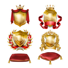 Set of vector icons of of heraldic shields with royal golden crowns isolated on white. Collection of awards for winners of competitions, design elements for a label, certificate, diploma