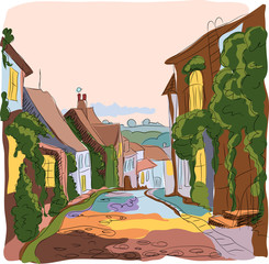England.the village street. sketch