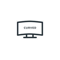 Curved tv vector icon