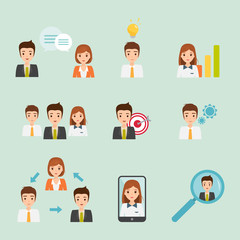 business element people character in office work. people in job function.