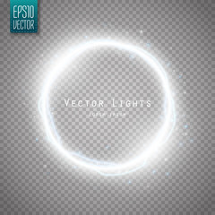 Glow round frame with many shine particles and electricity effect. Vector
