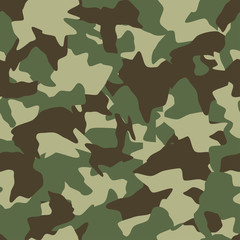 Camouflage seamless pattern. Green, brown, olive colors forest texture. Vector military camouflage background