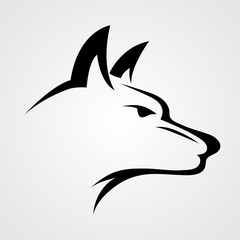 wolf / dog line art vector icon / logo