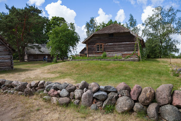 Wooden rural house, Baltic traditions, Latvia
