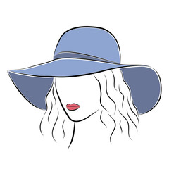 Beautiful elegant lady in the blue wide-brimmed hat.