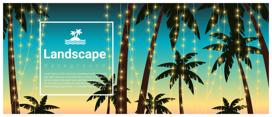Landscape background with palm trees at tropical beach party , vector , illustration