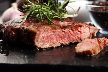 Barbecue Rib Eye Steak on Slate Slab - Dry Aged Wagyu Entrecote Steak