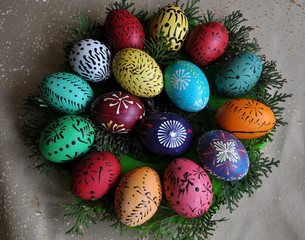 The composition of the Lemko Easter eggs. Lemky - one of the communities ethnographic Ukrainian people.